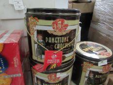 Chilostro Di Saronno Specialita Panettone Chocolate cake 1K in decorative tin but damaged Best