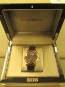 Emporio Armani Ladies Rose Gold Grey Leather Strap Watch ARS2003 RRP £595 @ Selfridges,Emporio