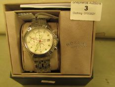 Rotary Gb00137/70 Chronograph White Dial Stainless Steel Mens Watch in original box tested