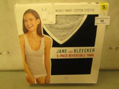 Jane & Bleeker 3 PK Reversible Tank Tops Size S Grey/Black/White New & Boxed