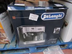 DeLonghi pump espresso and filter coffee, powers on but not tested all functions and boxed.
