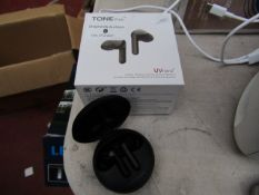 LG Tone Free wireless earphones tested working, charger unchecked and boxed