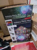 ION holiday party plus indoor/ outdoor projected LED light, no power and boxed.