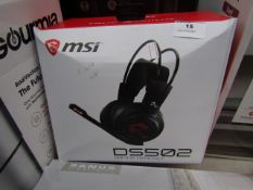 MSI DS502 gaming headset, tested working for sound and boxed.