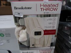 """Brookstone heated throw 60 x 50"""", unchecked and boxed."""