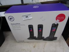 3 Handset BT Premium Phone with 100% call blcoking, mobile sync and answering machine, unchecked and