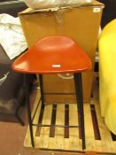   1X   MADE.COM LODI BAR STOOL IN TAN AND BLACK  SMALL CHIP IN TH EFINISH ON THE SEAT   RRP £99  