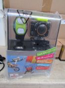 Full HD sports WiFi action camera with accessories and bracelet, tested working and boxed.