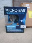 | 6X | MICRO-EAR RECHARGEABLE SOUND AMP | UNCHECKED AND BOXED | NO ONLINE RE-SALE | SKU - | RRP £