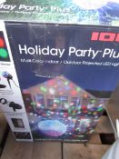 ION holiday party plus indoor/ outdoor projected LED light, powers on but not all functions tested