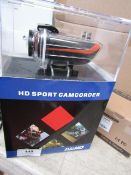 HD sport action camcorder with accessories, tested working and boxed.
