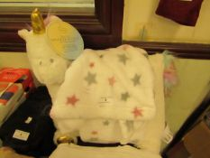 2PC Set Being Cuddle Fleecy Small Throw & Cuddle Unicorn Cushion,Look Unused