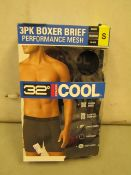 3PK of 32 Degrees Cool Boxer Shorts Size S New & Boxed