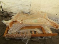 Pallet of parts to 2 Double wooden bed frames, completely unchecked