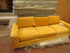 | 1X | SWOON MALVERN 3 SEATER SOFA IN YELLOW | HAS A COUPLE OF SMALL DIRTY MARKS, COMES WITH FEET,