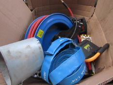 "Box Contains Approx 7x Various Items, Compressor Hose, 14"" Saw Blade, Impact Wrench Etc, This lot is"