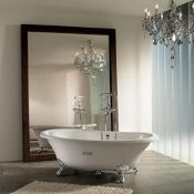 Roca Eliptico Oval Cast Iron Bath with White Exterior and Anti-slip Base 0 Tap Hole, new and in