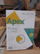 Pallet of approx 240 packs of 100 Fellowes Binding covers, unused and appear to be still sealed (the
