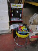 Pac-Man gaming machine with pedestal and chair, powers on but screen display faulty as it does not
