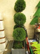 Large Outdoor Artificial 3 Ball Topiary Tree, With Large Concrete Effect Planter - Used Condition,