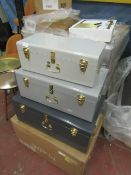 | 1X | MADE.COM EXTRA LARGE SET OF 3 METAL STORAGE TRUNKS | LOOKS UNUSED (NO GUARANTEE) | RRP £