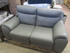 Calia 2 seater electric grey leather electric reclining sofa, tested working
