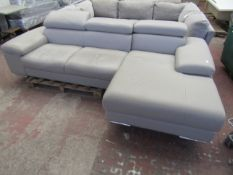 Nicoletti 3 seater chaise leather sofa, it is used but is in good condition overall coukd do with