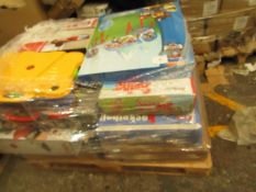 A pallet of unmanifested raw return stock which looks to be mainly Toys, all in unchecked.