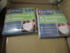 10x Packs of 5x Uk Safe - Disposable masks - New & Boxed.