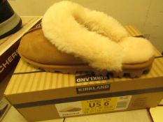 1 x Kirland Signature Ladies Sheepskin Chestnut Mules size 4 (UK) new & boxed