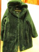 1 x DKNY Green Faux Fur Hooded Coat size M (no tag returned item)