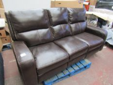 Zach Three seater leather electric recliner, untested but no major damage.