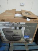 Barca lounger fabric power rocker recliner, unchecked and boxed. RRP £349