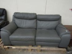 Calia 3 seater (2 cushion) electric grey leather reclining sofa, the mechanism is working on both