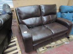 Zach Two seater leather electric recliner, untested but no major damage.