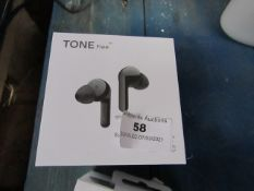 LG Tone Free Wireless earphones with charging case, unchecked as they have run out of charge, RRP £