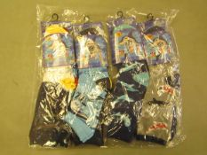 12 X Pairs of Childrens Sea Life Themed Socks Size 12.5 to 3.5 New & Packaged
