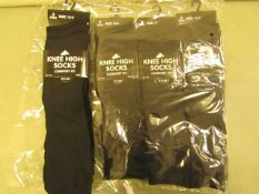 12 X Pairs of Girls Knee High Socks Black Size 12 to 3 New & Packaged