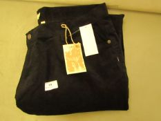 """W & B Cord Trouseres Black Size 42"""" W 29"""" L New With Tags"""
