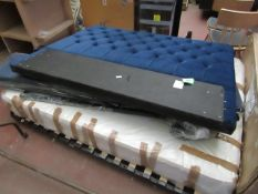   1X   MADE.COM BLUE KING SIZE OTTOMAN BED FRAME WITH MATTRESS   UNCHECKED FOR ALL PARTS AND