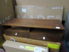 | 1X | MADE.COM HEDRA MEDIA UNIT, MANGO WOOD & BRASS | BOXED & CRACK IN FRONT DRAW | RRP £449 |