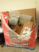 A Pallet, approx 2ft to 3ft tall of raw customer household returns from a large online retailer,