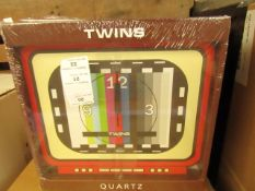 5x Twinz Quartz Wall Clock - New & Packaged (see image for design)