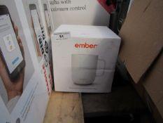 Ember temperature control ceramic mug, no power and boxed.
