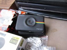 Polaroid Snapshot camera with charger and case, unchecked due to no power (may need charging).