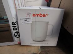 Ember temperature control ceramic mug, powers on but not tested all functions and boxed.