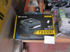 Corsair TX650M modular ATX power supply, unchecked and boxed.