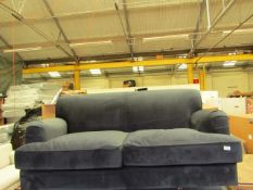 | 1X | MADE.COM ORSON 2 BLUE SEATER VELOUR FABRIC SOFA | COULD DO WITH A CLEAN IN PLACES, NO