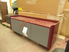 | 1X | MADE.COM LALI LARGE SIDEBORD, MID GREY & MAHOGANY RED | BOXED & DAMAGE NEAR BOTTOM LEG |