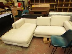 | 1X | SWOON 3 SEATER CORNER SOFA IN CREAM | HAS DIRTY MARKS, IS MISSING A BACK CUSHION AND DOES NOT